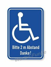 1 Aufkleber, Rollstuhl - Fahrer  2 m Abstand 10 x 15 cm Rollstuhlfahrer