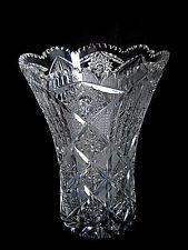 "Estate Fabulous 10"" Brilliant Deep All Over Cut Glass Crystal Vase Sawtooth Edge"