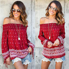 AU Womens Off Shoulder Blouse Tee Top Boho Strapless Long Sleeve Peasant T-shirt