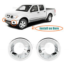 Chrome Front Fog Light Lamp Molding Covers Trims For 2005-2016 Nissan Frontier