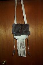 Black Powder Shooter'S Hand Made, Leather Possible Bag, Rabbit Fur Flap