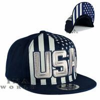 USA American Flag hat USA Embroidered Snapback Flat bill Baseball cap- Navy Blue