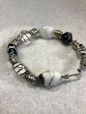 """Hand Crafted Art Glass Beaded Silver Tone  7"""" Bracelet Jewelry XR-40"""