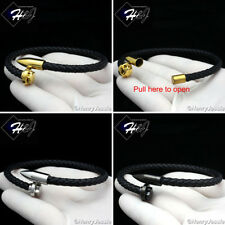 "8""MEN WOMEN Stainless Steel Silver/Black/Gold Nail Braided Leather Bracelet*B95"
