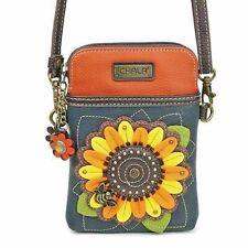 Navy Faux Leather Crossbody Chala Cell Phone Wristlet  Purse Handbag-Sunflower