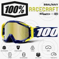 MASCHERA 100% RACECRAFT MX OCCHIALI MOTOCROSS BILAL/NAVY LENTE A SPECCHIO ORO
