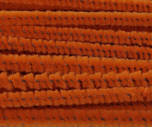 """Lot of 100 Orange Wired Chenille Stems Craft Pipe Cleaners 12"""" x 3mm 1/8"""" Wide"""