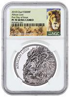 2018 Republic of Chad African Lion 1 oz Silver 5,000F NGC PF70 UC FDI SKU51664