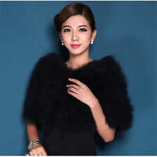 Women 100% Real Ostrich Feather Fur Cape Stole jacket bolero hairy wed bridal