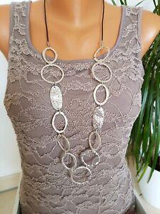 lange Halskette/ Statement Kette * Modeschmuck * Silber * Ringe * Lederband