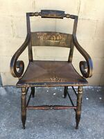 SALE! VERY UNUSUAL Antique Hitchcock ARMCHAIR Curved Pillow Back & Rush Seat