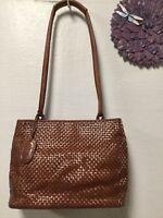 Womens shoulder strap handbag reddish brown leather double straps Nine West H36