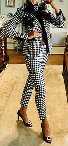 New Black White Plaid Embellished Blazer With Blouse And Pants Size M