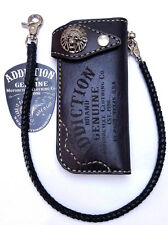 Black Leather Motorcycle wallet Vintage tribal skull biker trucker braided chain