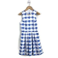 Hunter Bell Dress 6 Harper Blue White Printed A Line Pleated Women's NWT $260