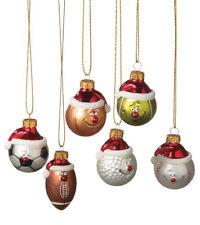 Sports Ball Glass Christmas Ornament Set ~ Set/6 ~ Football/Golf/Tennis/Soccer++