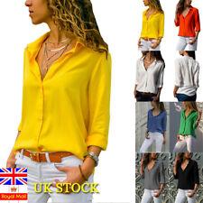 Women Casual Long Sleeve Blouse Loose Tops Ladies Office Work Plain Collar Shirt