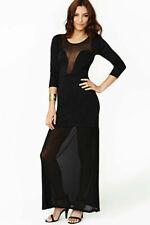Vestito abito sera maxi donna ragazza elegante gotico elasticizzato lungo festa