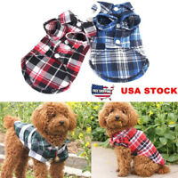 US Small Pet Dog Puppy Plaid T Shirt Lapel Coat Cat Jacket Clothes Costume XS-L