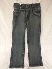 Diamante Jeans Rhinestone Trim Three 3 Button New Stonewashed Distressed #173