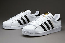 Adidas White Superstar Shoes with golden logo for men with box