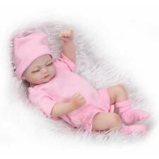Reborn Baby Doll Girl Baby Bath Toy Full Silicone Body Eyes Close Sleeping Q1F7