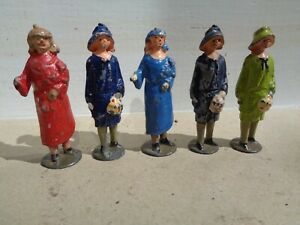"Johillco Lead Bride & Bride's Maid, Blue, red  Dresses, 2 1/8"" Tall, lot of 5"