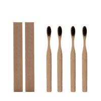 4er Pack Bambus Zahnbürste Holzkohle weiche mittlere Borsten Holzgriff