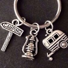 Happy Camper Keychain, Silver Keychain, Camper gift, Fathers Day Gift