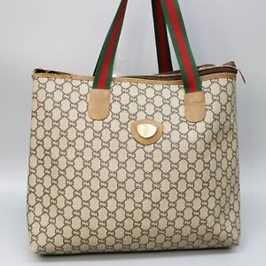 GUCCI PLUS Vintage GG Pattern PVC Canvas Webbing Sherry Line Tote Bag JUNK