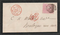 1857 SG66a 4d ROSE ON COVER LONDON TO BOULOGNE FRANCE