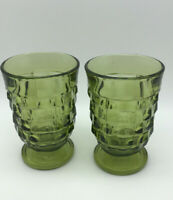 """Set of 2 Indiana Glass Vintage Avacado Green Cubist Glasses Footed 4.5"""" Tall"""
