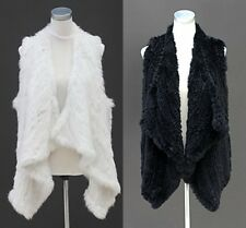 100% Real Casual Thick Vests Genuine Knitted Rabbit Fur Gilet Waistcoat Jacket