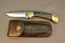 Vintage Buck Knife USA #112 with Old Leather Case Good Condition