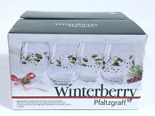 Pfaltzgraff Winterberry Stemless Wine Glasses Set Of 4 Hand Painted NEW IN BOX