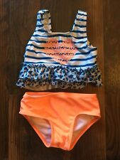 Size 3T multi-color TWO PIECE ANIMAL/STRIPE/HEART PRINT swimsuit unbranded