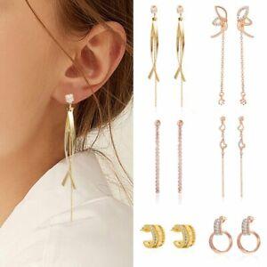 2021 Fashion Zircon Heart Tassel Stud Earrings Dangle Women Wedding Jewelry Gift
