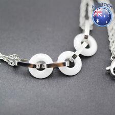 NEW 18K White Gold Filled 10MM Cute Ceramic Ring Hoops Chain Bracelet 19CM