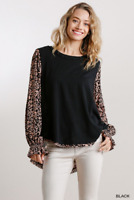 UMGEE L Floral/Animal Print Long Puff Sleeve Round Neck Top With Raw Edge Hem