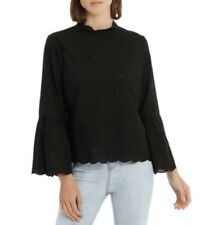 "PIPER ""Broderie Lace Lanten Sleeve Black Cotton Boho Top sz 10 NWT Rrp $79.95"