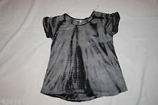 Womens S/S Shirt BLACK GRAY TIE DYE Loose Fit CHEST POCKET Round Bottom M 8-10