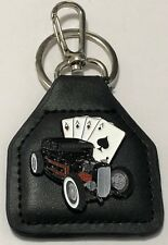 1932 Ford Coupe Hot Rod  -- 4 Aces and a Deuce --  Genuine Leather Key Fob