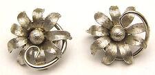 Vintage KRAMER Clip-on Earrings Large Flowers w/ Swirl Accent Simple Silver Tone