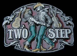 TEXAS TWO STEP BELT BUCKLE VINTAGE 1994 HEAVY PEWTER SISKIYOU!