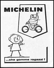 PUBBLICITA' MICHELIN PNEUMATICI MOTO OMINO BIBENDUM GOMME RAGAZZI  1965