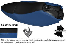 BLACK & ROYAL BLUE CUSTOM FITS YAMAHA XQ 125 MAXSTER  REAL LEATHER SEATS COVERS