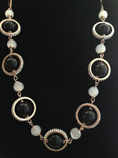 Gold crystal agate opal round pendant long necklace Sweater Chain