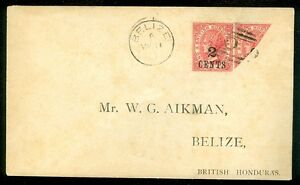 BRITISH HONDURAS : Stanley Gibbons #37a Bisect & single on cover.
