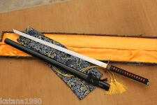 Handmade Folded Clay Tempered Straight Ninjato Blade Sword Aka Chokuto + Bag