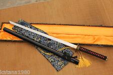 Handmade Folded Clay Tempered Straight Ninjato Blade Sword Aka Chokuto + Bag